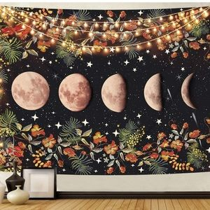 Moon Phase Starry Sky Space Floral Tapestry Decor